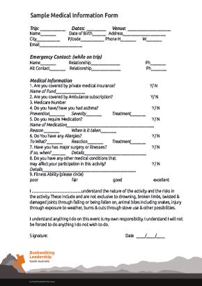 Sample Medical Information Form. cover