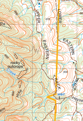 Typical topographic map features